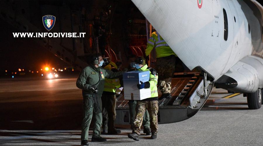Aeronautica Militare: oltre 100 ore di volo effettuate per la consegna dei vaccini