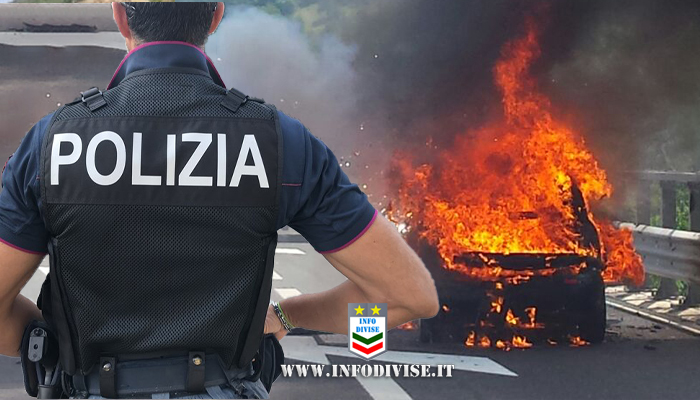 Auto a fuoco in A14, poliziotto salva i due occupanti dalle fiamme