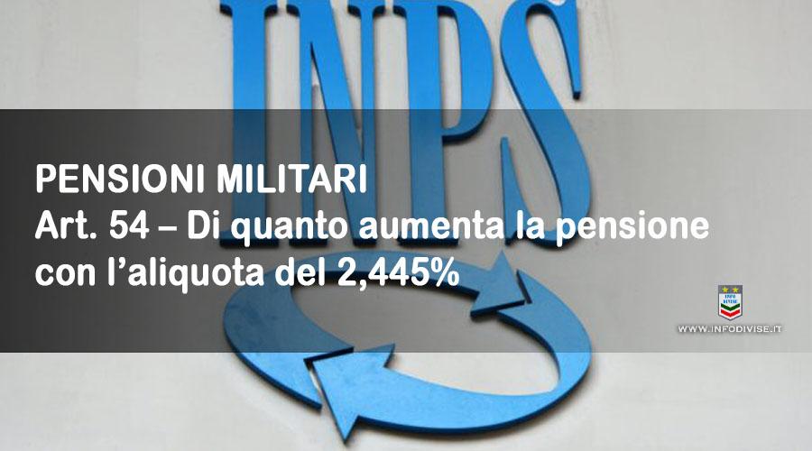 Art. 54 – Di quanto aumenta la pensione con l'aliquota del 2,445%, stabilita dalla sentenza 12/2021 della Corte dei Conti