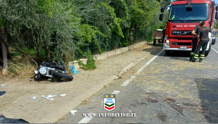 Si scontra in moto contro un trattore: gravissimo poliziotto 39enne in servizio al Commissariato di Lanciano