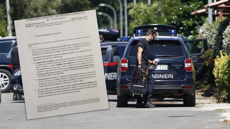 Green pass e Caserme: ecco l'atto della Legione Carabinieri Sardegna